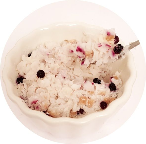 Kupiec, Płatki Ryżowe z jagodą i bananem, zdrowy deser bez cukru, copyright Olga Kublik
