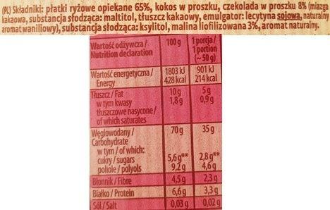Kupiec, Płatki Ryżowe z maliną i czekoladą, zdrowy deser bez cukru, skład i wartości odżywcze, copyright Olga Kublik