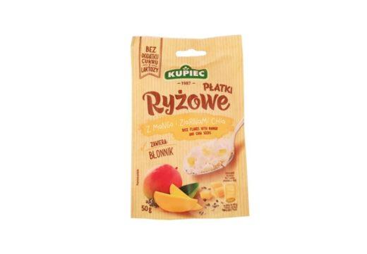 Kupiec, Płatki Ryżowe z mango i ziarnami chia, zdrowy deser bez cukru, copyright Olga Kublik