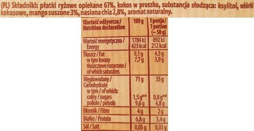 Kupiec, Płatki Ryżowe z mango i ziarnami chia, zdrowy deser bez cukru, skład i wartości odżywcze, copyright Olga Kublik