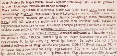 Quest Nutrition, Quest Bar Maple Waffle Flavor, zdrowy baton proteinowy bez cukru, skład i wartości odżywcze, copyright Olga Kublik