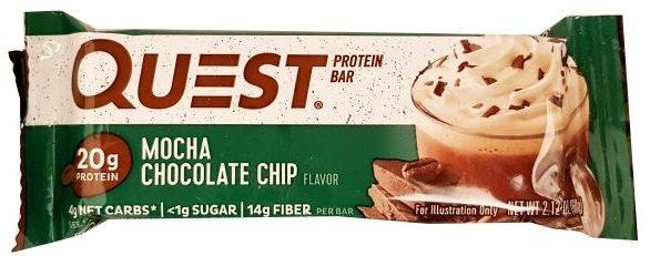 Quest Nutrition, Quest Bar Mocha Chocolate Chip, kawowo-czekoladowy baton proteinowy bez cukru, słodycze light, copyright Olga Kublik
