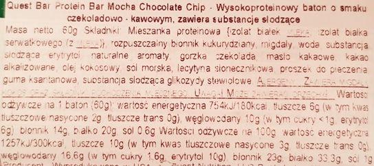 Quest Nutrition, Quest Bar Mocha Chocolate Chip, kawowo-czekoladowy baton proteinowy bez cukru, słodycze light, skład i wartości odżywcze, copyright Olga Kublik