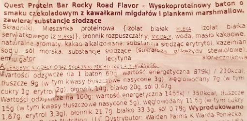 Quest Nutrition, Quest Bar Rocky Road Flavor, czekoladowy baton proteinowy z migdałami i piankami marshmallow, słodycze bez cukru, skład i wartości odżywcze, copyright Olga Kublik