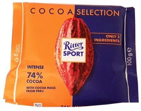 Ritter Sport, Cocoa Selection Intense 74% cocoa Peru, ciemna czekolada gorzka, copyright Olga Kublik