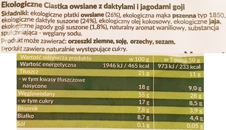 Symbio, Ekologiczne ciastka owsiane daktyle i jagody goji, zdrowe ciastka bez cukru, skład i wartości odżywcze, copyright Olga Kublik