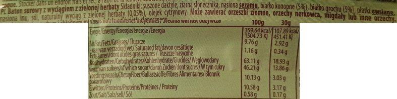 2Keep Natural Bites, Raw Bar Vegan Green Tea, zdrowy surowy baton wegański zielona herbata, skład i wartości odżywcze, copyright Olga Kublik