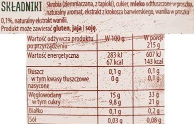 Delecta, Pyszny Budyń waniliowy, skład i wartości odżywcze, copyright Olga Kublik