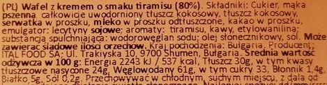 Italmex, My Motto wafelek Tiramisu Flavour, skład i wartości odżywcze, copyright Olga Kublik