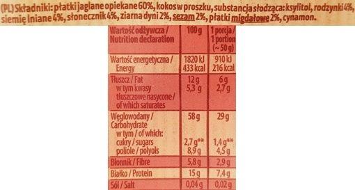 Kupiec, Płatki Jaglane z bakaliami, deser błyskawiczny jaglanka z cynamonem bez cukru, skład i wartości odżywcze, copyright Olga Kublik