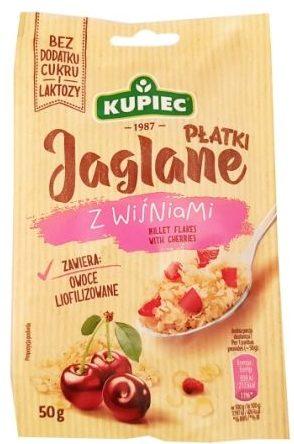 Kupiec, Płatki Jaglane z wiśniami, jaglanka deser bez cukru i laktozy, copyright Olga Kublik