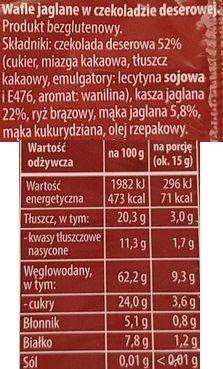 Sonko, Jaglane wafle w czekoladzie deserowej, skład i wartości odżywcze, copyright Olga Kublik