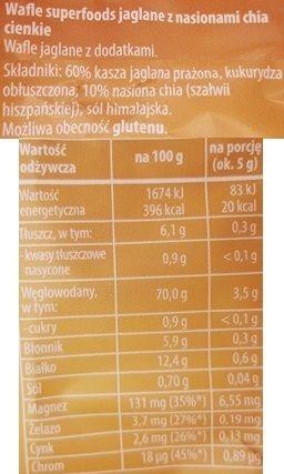 Sonko, Wafle Superfoods jaglane nasiona chia, zdrowe wafle jaglane, skład i wartości odżywcze, copyright Olga Kublik