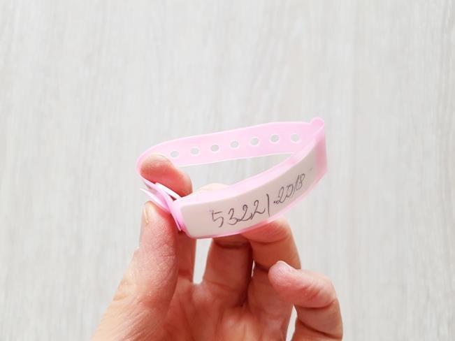 Różowa bransoletka szpitalna dla dzieci