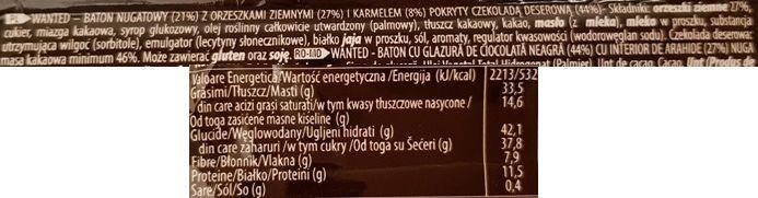 ETi, Wanted nuts dark, baton czekoladowy z ciemną czekoladą deserową, karmelem, nugatem i fistaszkami, skład i wartości odżywcze, copyright Olga Kublik