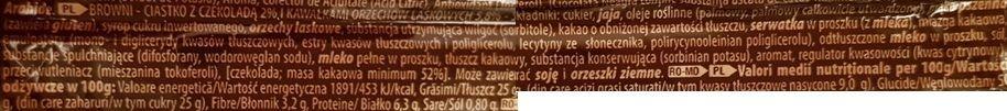 ETi, brownie Browni Chocolate Hazelnut Cake, czekoladowe brownie z orzechami laskowymi, skład i wartości odżywcze, copyright Olga Kublik