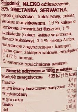 Ehrmann, Grand Dessert Double Choc, czekoladowy pudding z bitą śmietaną czekoladową, skład i wartości odżywcze, copyright Olga Kublik
