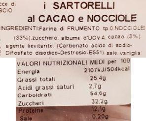 I Sartorelli, Biscotti al Cacao e Nocciole, włoskie ciastka kakaowe z orzechami laskowymi, skład i wartości odżywcze, copyright Olga Kublik