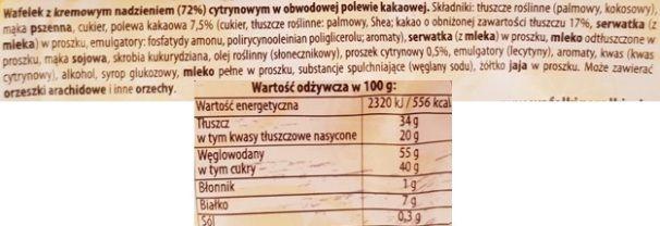 I.D.C. Polonia, Góralki smak cytrynowy, wafle cytrynowe, skład i wartości odżywcze, copyright Olga Kublik