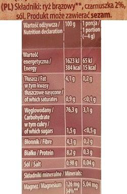 Kupiec, Wafle ryżowe bez glutenu Super Slim z czarnuszką, skład i wartości odżywcze, copyright Olga Kublik