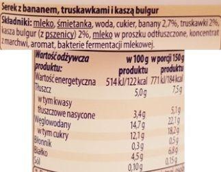 Lactalis, Serek Tutti z kaszą bulgur z bananem i truskawkami, serek homogenizowany z Biedronki, skład i wartości odżywcze, copyright Olga Kublik