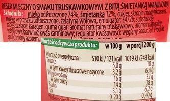 Mazowiecka Spółka Mleczarska, Twój Deser Premium deser mleczny o smaku truskawkowym z bitą śmietanką waniliową, Biedronka, skład i wartości odżywcze, copyright Olga Kublik