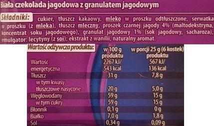 Magnetic Biała czekolada jagodowa, czekolada z Biedronki, skład i wartości odżywcze, copyright Olga Kublik