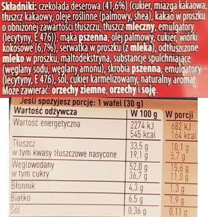 Nestle, Princessa Intense Dark Coconut, wafelek Princessa kokosowa w czekoladzie ciemnej deserowej, skład i wartości odżywcze, copyright Olga Kublik