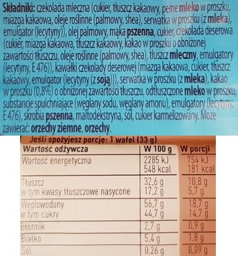 Nestle, Princessa Intense Milk Chocolate, wafel kakaowy w czekoladzie mlecznej, skład i wartości odżywcze, copyright Olga Kublik