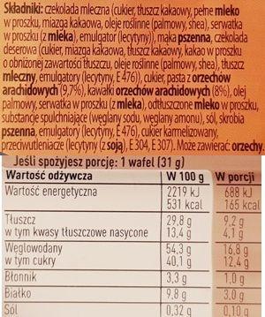 Nestle, Princessa Intense Peanut Butter, wafelek Princessa masło orzechowe, skład i wartości odżywcze, copyright Olga Kublik