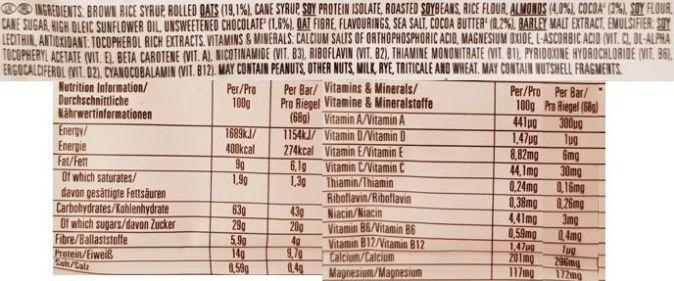 Clif Bar, baton owsiany Energy Bar Chocolate Almond Fudge 2020, skład i wartości odżywcze, copyright Olga Kublik