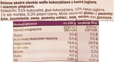 Good Food, Castello Wafle kukurydziane ekstra cienkie kasza jaglana i czarny pieprz, skład i wartości odżywcze, copyright Olga Kublik