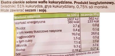 Good Food, Castello Wafle kukurydziane solone ekstra cienkie, skład i wartości odżywcze, copyright Olga Kublik