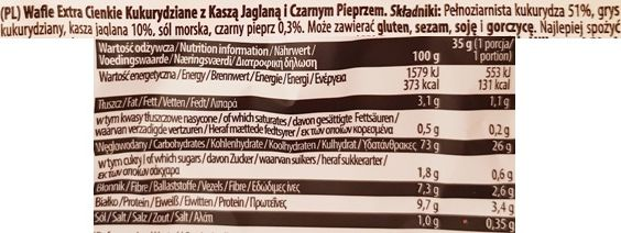 Good Food, Wafle kukurydziane extra cienkie kasza jaglana i czarny pieprz, skład i wartości odżywcze, copyright Olga Kublik