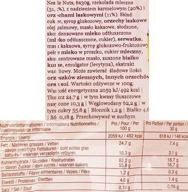 Nestle, Nuts Snack Size, baton czekoladowy z nugatem, karmelem i orzechami laskowymi, skład i wartości odżywcze, copyright Olga Kublik