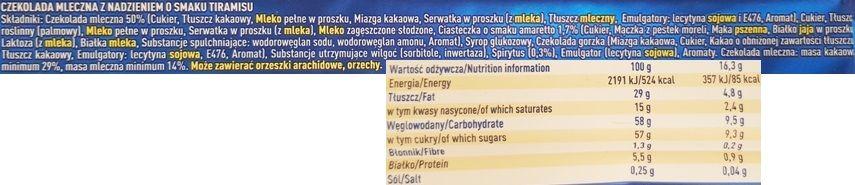 Wedel, Tiramisu czekolada mleczna nadziewana o smaku deseru tiramisu, skład i wartości odżywcze, copyright Olga Kublik