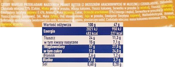 Wedel, WW Peanut Butter, baton czekoladowy z masłem orzechowym, skład i wartości odżywcze, copyright Olga Kublik