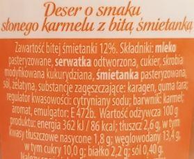 Bakoma, Satino o smaku Słonego Karmelu deser z bitą śmietaną, skład i wartości odżywcze, copyright Olga Kublik