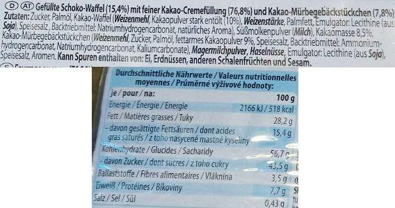 Excelsior, wafelek Kakao Keks Schnitte, skład i wartości odżywcze, copyright Olga Kublik