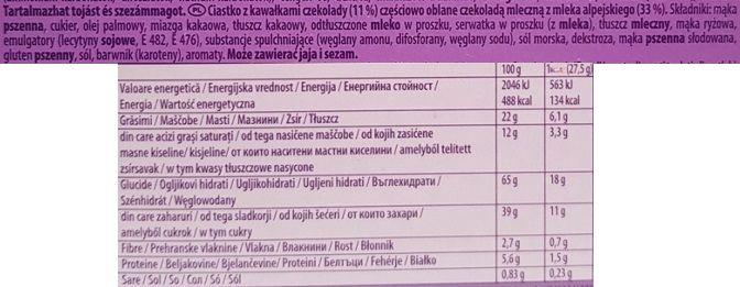 Milka, Cookie Snax amerykańskie ciastka z czekoladą, skład i wartości odżywcze, copyright Olga Kublik