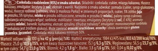 Mister Choc, Arcy Advocat z Lidla, baton czekoladowy z adwokatem, ciemna czekolada deserowa, skład i wartości odżywcze, copyright Olga Kublik