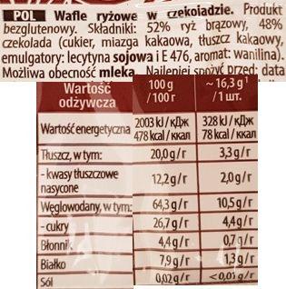 Sonko, Dark wafle ryżowe w czekoladzie ciemnej deserowej, skład i wartości odżywcze, copyright Olga Kublik
