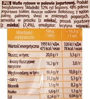 Sonko, Yogurt Wafle ryżowe w polewie jogurtowej, skład i wartości odżywcze, copyright Olga Kublik