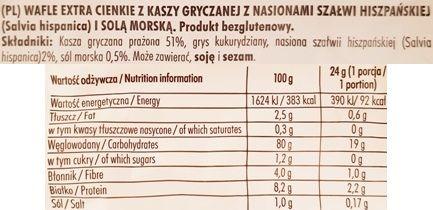 Good Food, Chia Wafle gryczane z solą morską stara wersja, skład i wartości odżywcze, copyright Olga Kublik