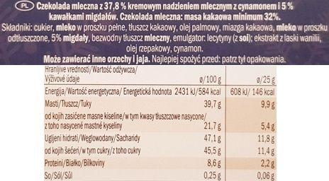 J.D. Gross, Mousse au lait Almond Cinnamon, czekolada z musem Lidl, skład i wartości odżywcze, copyright Olga Kublik