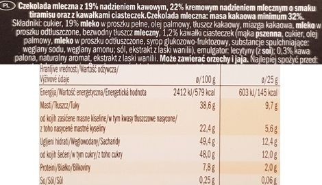 J.D. Gross, Mousse au lait Tiramisu, czekolada z musem Lidl, skład i wartości odżywcze, copyright Olga Kublik