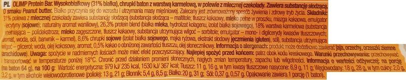 Olimp Sport Nutrition, Olimp Protein Bar Peanut Butter Flavour, baton proteinowy o smaku masła orzechowego, skład i wartości odżywcze, copyright Olga Kublik