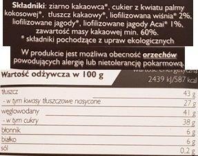 SuroVital, Cocoa surowa czekolada wiśnia acai, skład i wartości odżywcze, copyright Olga Kublik