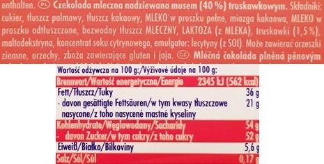 Ritter Sport, Erdbeer Mousse, mleczna czekolada z musem truskawkowym, skład i wartości odżywcze, copyright Olga Kublik