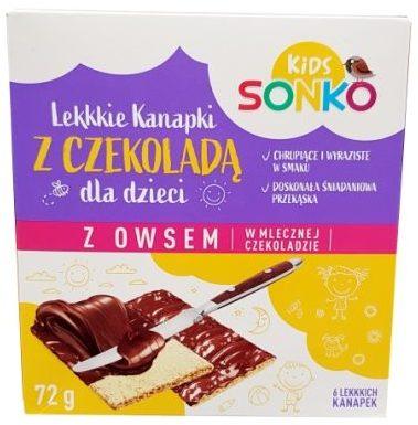 Sonko, Kids Lekkie Kanapki z czekoladą dla dzieci z owsem, w mlecznej czekoladzie, copyright Olga Kublik